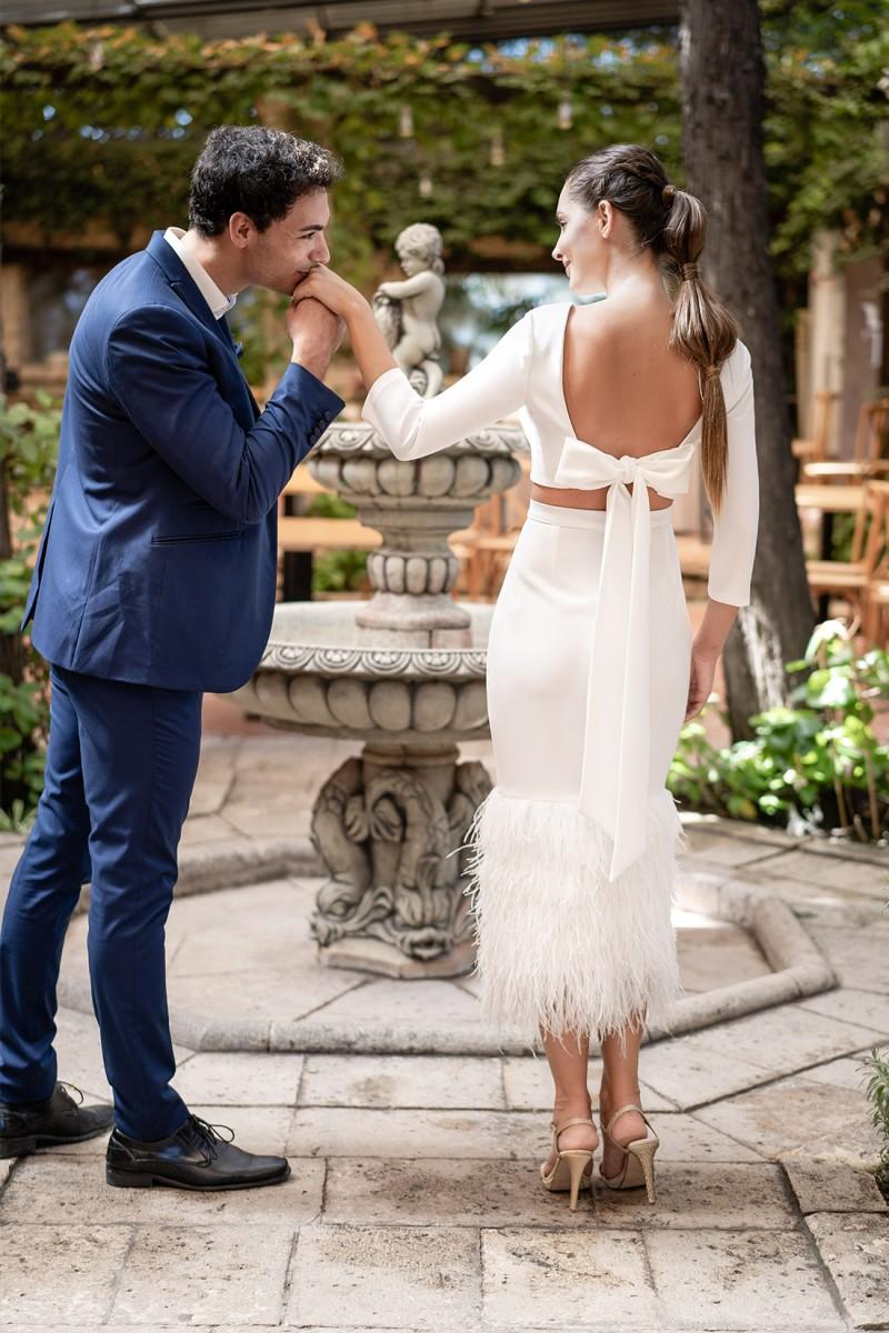 vestido de novia coctel beckie