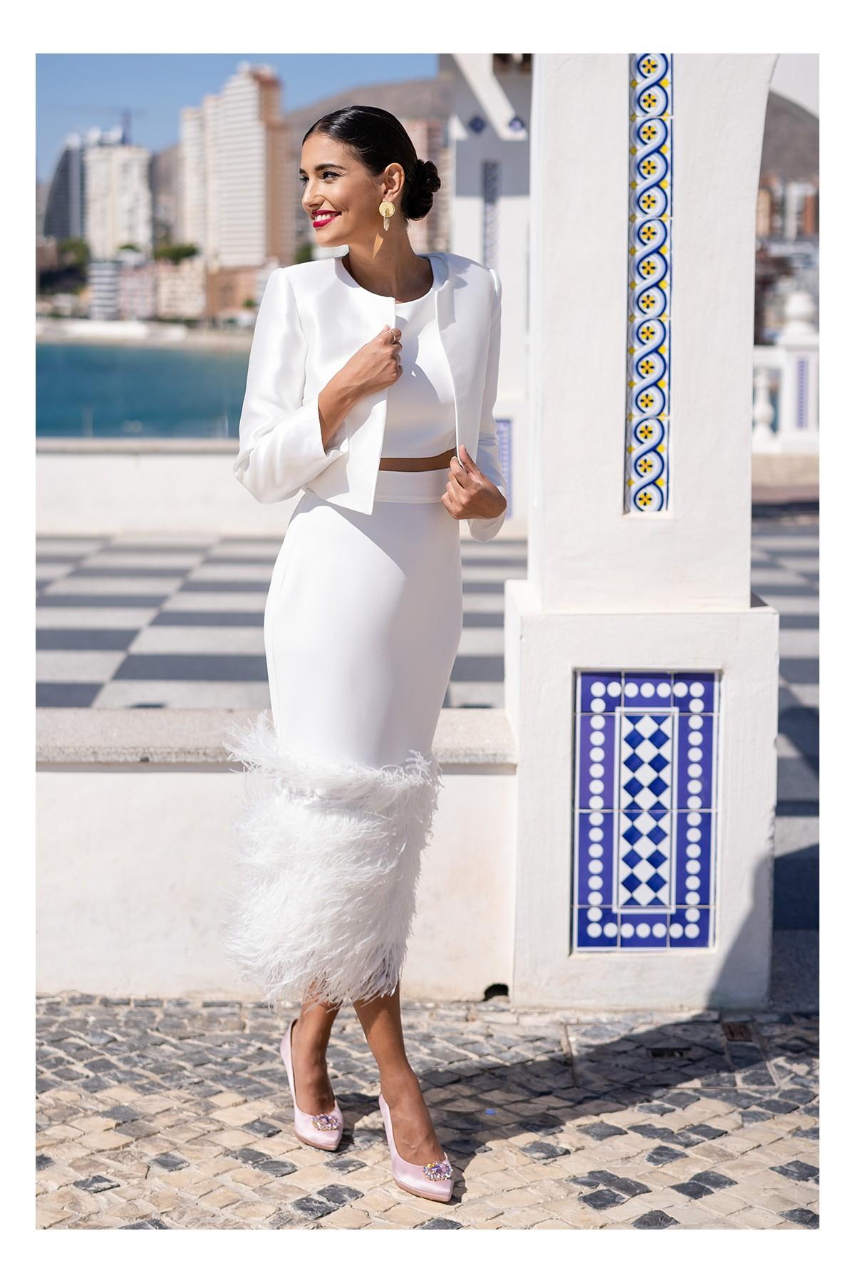 chaqueta para vestido de fiesta blanco