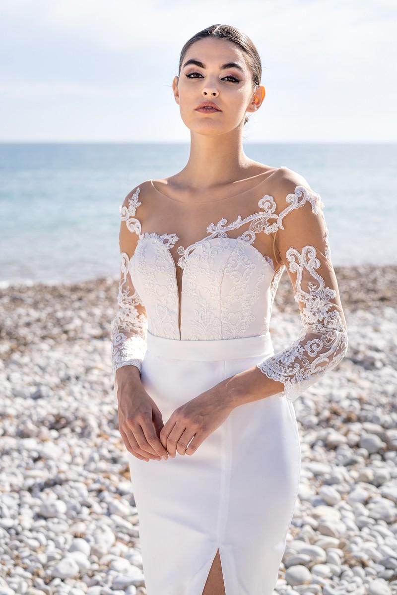 vestido blanco con encaje y pedrería samantha