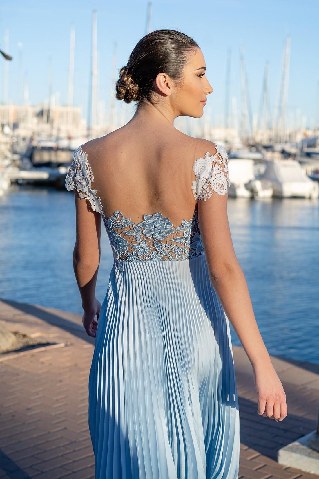 vestido de graduación azul keyla