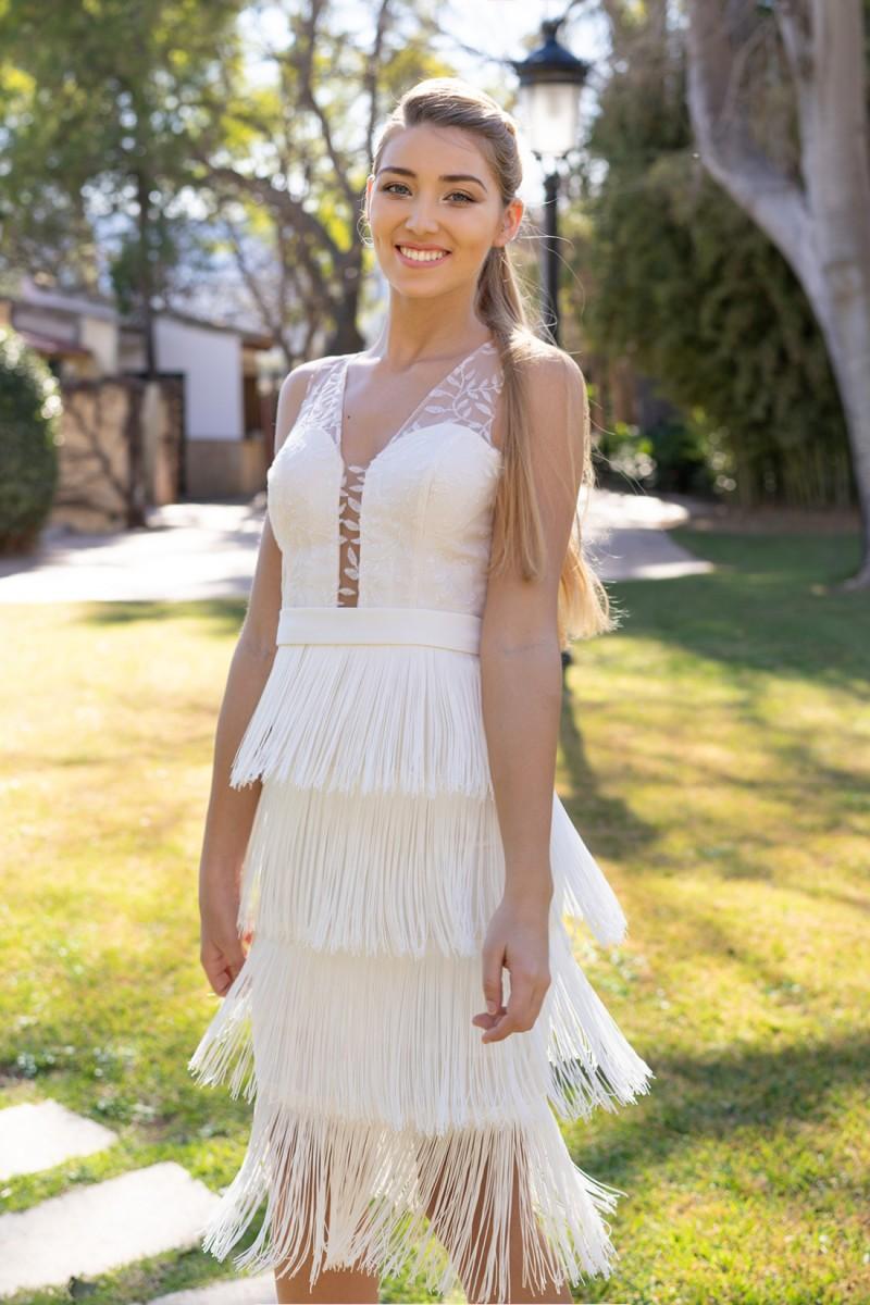 vestido de fiesta con flecos sandie