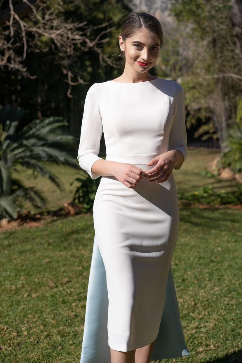 vestido de novia de coctel blanco paola