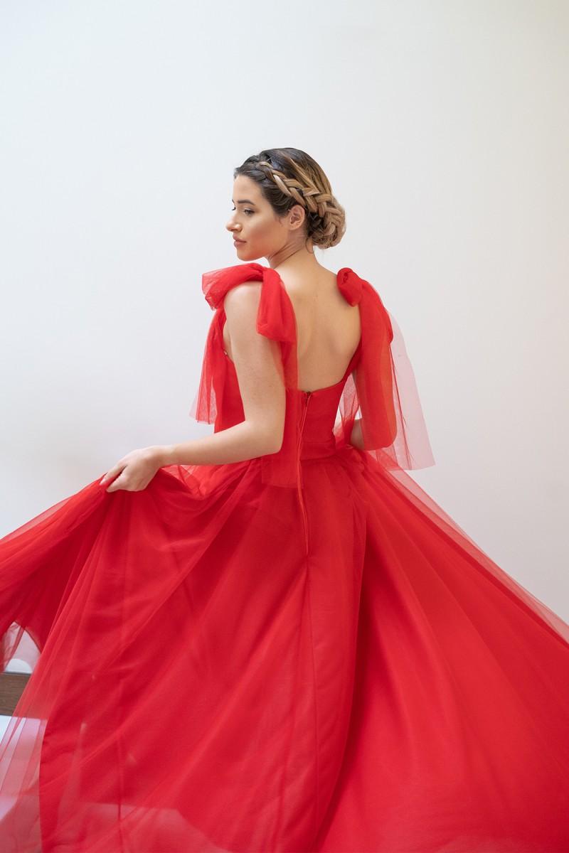 vestido de fiesta rojo largo giulia