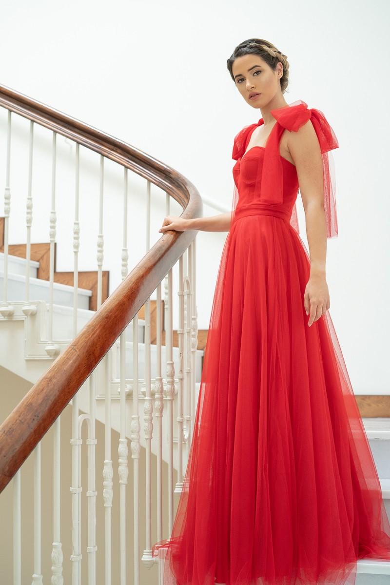 vestido de fiesta rojo de gasa giulia