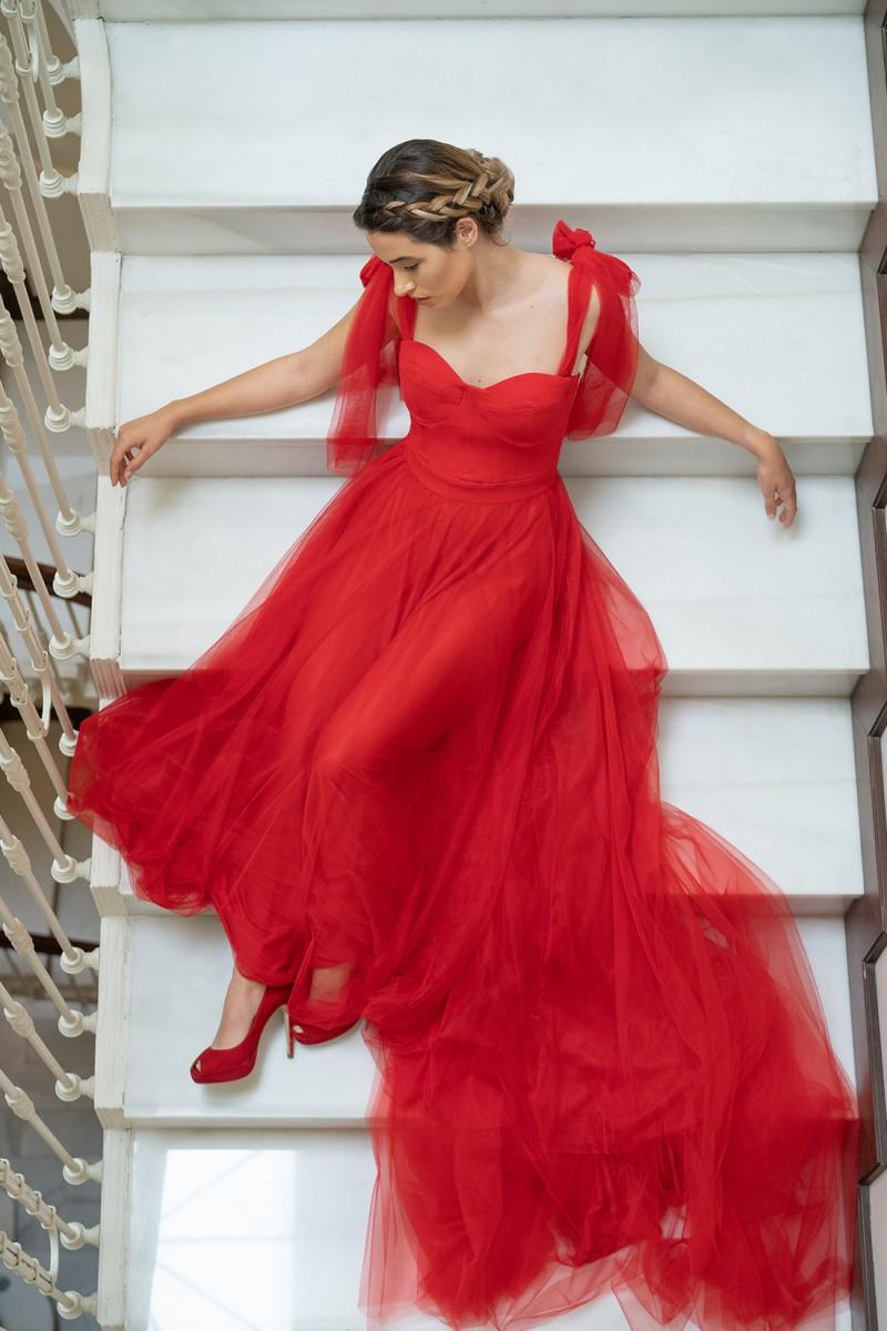 vestido de graduación rojo giulia