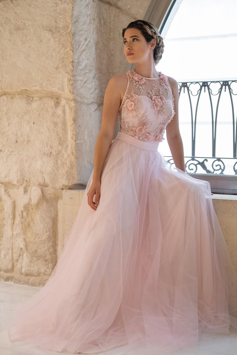 vestido de fiesta largo rosa aurora