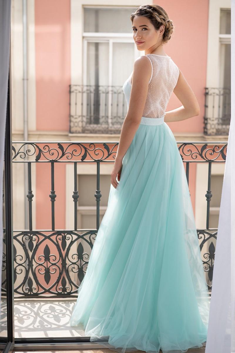 vestido de fiesta largo azul praia