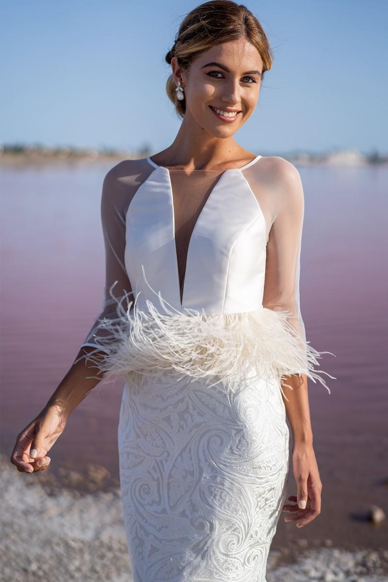 vestido de fiesta con falda de tubo amazonia