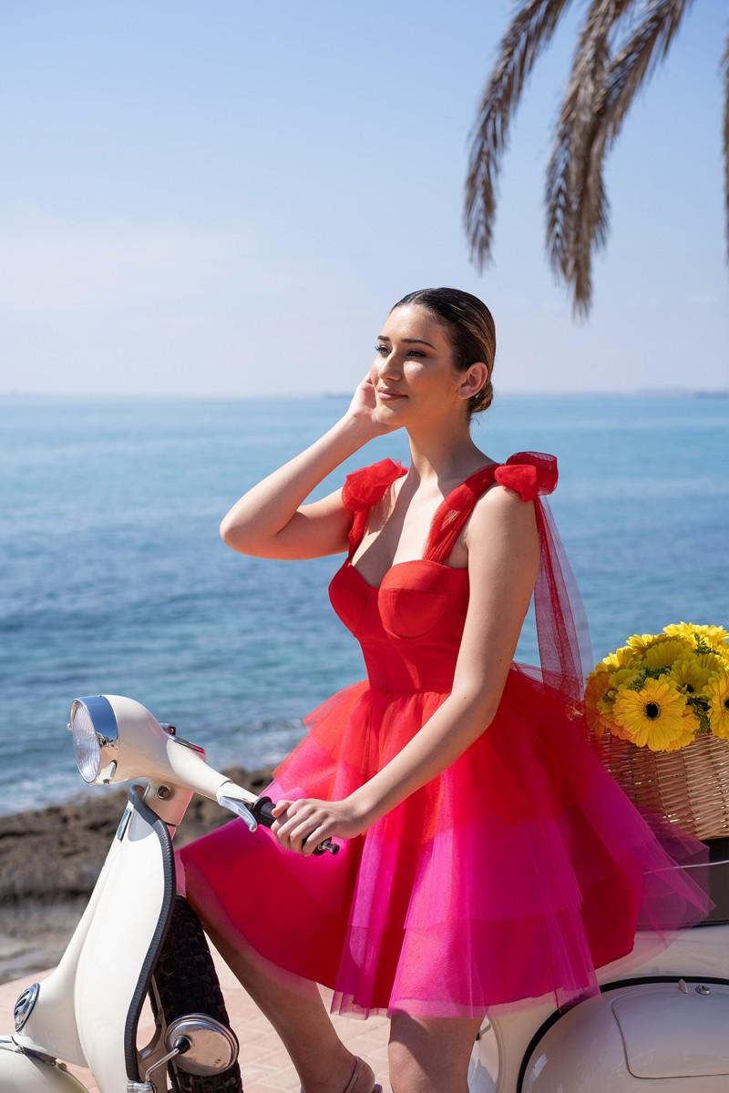 vestido de graduación rojo aysha