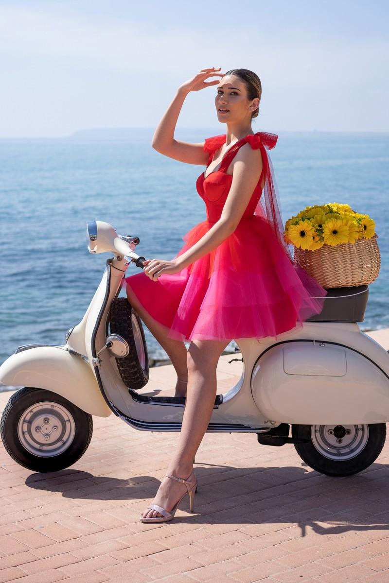 vestido de fiesta corto rojo aysha