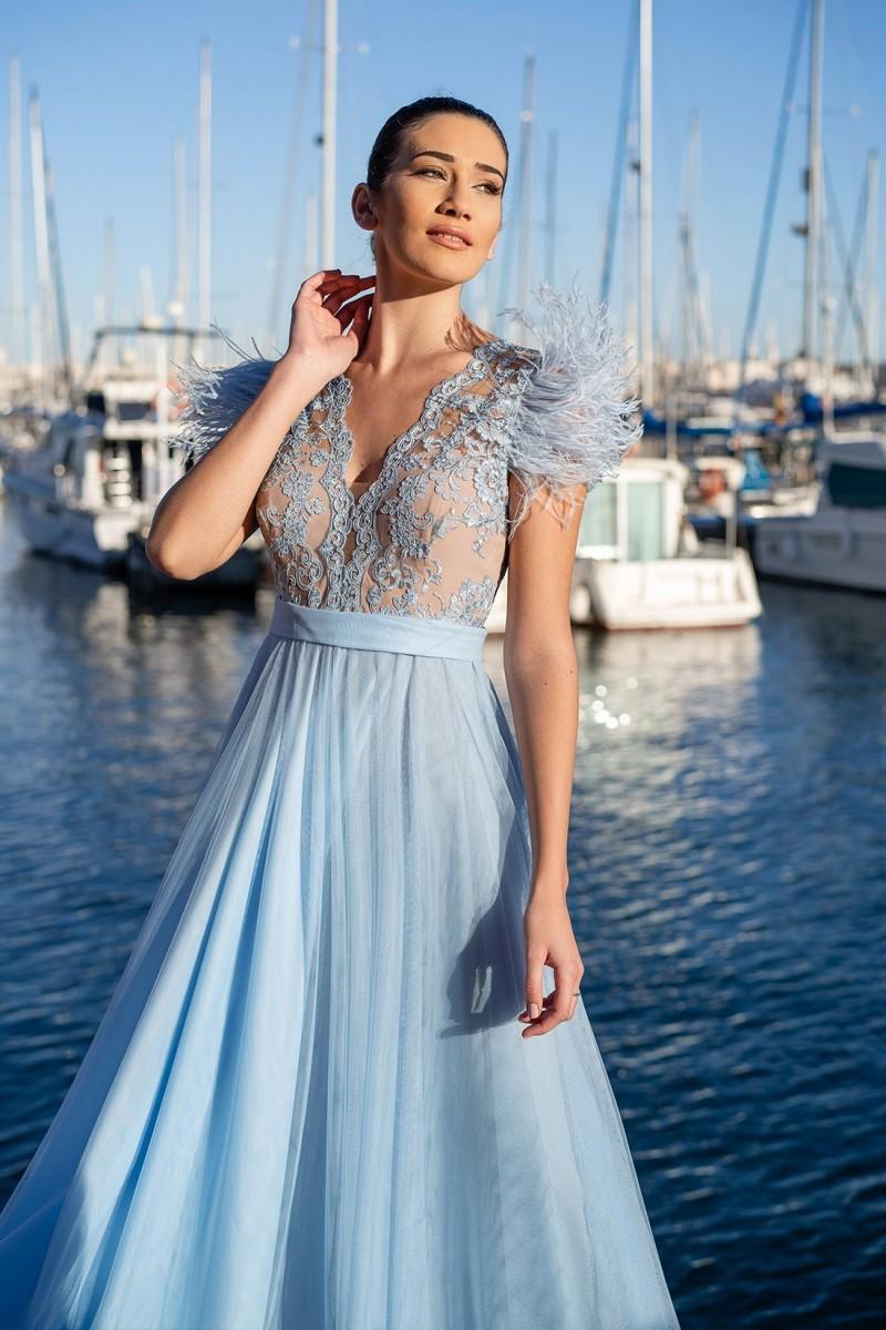 vestido de fiesta azul sofia