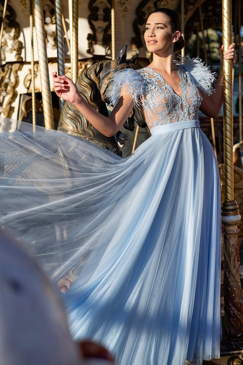 vestido de fiesta azul sofia ambiente
