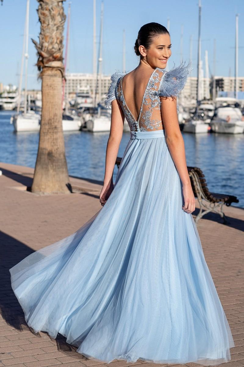 vestido de fiesta azul sofia trasera